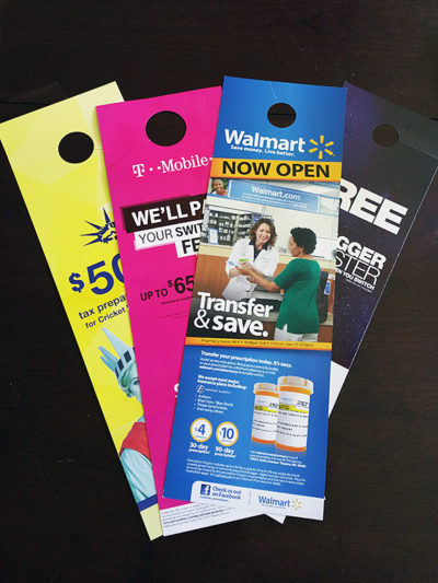 Seattle flyers and seattle door hanger advertising design for Door 2 door leaflets